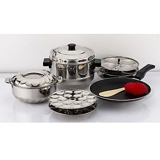 Mahavir 12Pc Induction Base Idly Cooker With 36Mini Idly Plate Free And Non Stick Induction Base Dosa Tawa -210Mm With Steel Hotpot