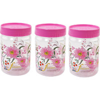 SKI Printed Easy Pet Jars 1100ml ( 3 Piece Set With Spoons)