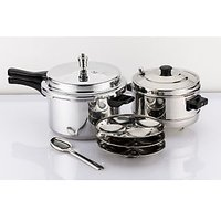 Mahavir 3Pc -5.0 Liter Induction Pressure Cooker With Idly Cooker Combo