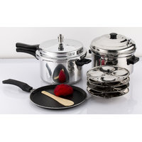 Mahavir 3Pc -5.0 Liter Induction Pressure Cooker Non Stick Dosa Tawa With Idly Cooker Combo