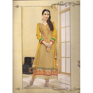 Karachi Suit Ethnic Wear Dress Material Yellow Unstitched Suits Set Bollywood