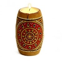 Dholak Shape Muticolour Wooden Tea Light Holder