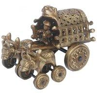 Bull Cart Handicraft Art Ware Brass Metal Statue By Aakrati