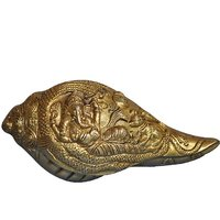 Aakrati Decorative Hand Carved Lord Ganesha Conch