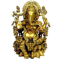 Glorious Statue Of Lord Ganesha Made In Brass Metal By Aakrati