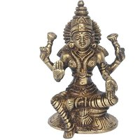 Goddess Lakshmi Brass Statue In Antique Finish By Aakrati