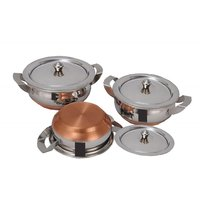 Kalash 3Pcs Copper Cook N Serve Cookware Set