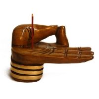 Hand Shape  Wooden Incense Holder With Golden Paint