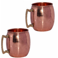 Set Of 2 Prisha India Copper Moscow Mule Mug With Brass Handle