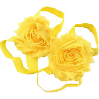 Pinkxenia Yellow Newborn Baby Boutique Elastic Rosset Shabby Chiffon Flower Barefoot Sandal Shoes