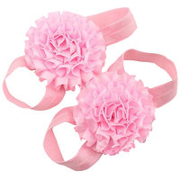 Pinkxenia Babypink Newborn Satin Flower First Walker Barefoot Sandal Shoes