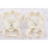 Pinkxenia Newborn Cream Diamond Pearl Flowers Barefoot Sandals Shoes Lace