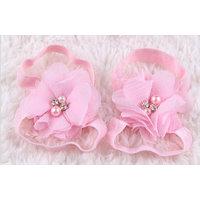 Pinkxenia Newborn Lightpink Diamond Pearl Flowers Barefoot Sandals Shoes Lace