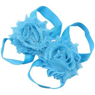 Pinkxenia Light Blue Newborn Baby Boutique Elastic Rosset Shabby Chiffon Flower Barefoot Sandal Shoes