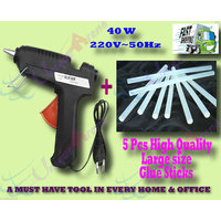 40 W Brand New Hot Melt Glue Gun + 5 Pcs BIG Glue Sticks For Multi-purpose Use