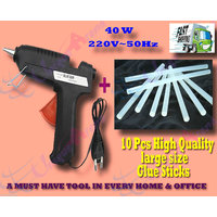 40 W Brand New Hot Melt Glue Gun + 10 Pcs BIG Glue Sticks For Multi-purpose Use