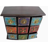 Wooden Hand Made Hand Painted 9 Drawer Box #1863
