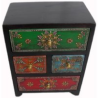 Wooden Hand Made Hand Painted 4 Drawer Box #1895
