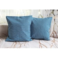 Blue Cotton Cushion Covers ( Set Of 2 )