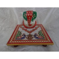 """Beautiful Painted Lord Ganesh With Chowki In White Marble In Big 6"""" X 6"""" Size - 6046422"""