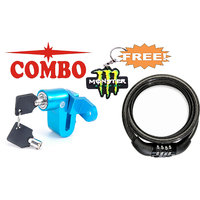 Combo Of Disc Lock With Number Lock Free Monster Key Chain