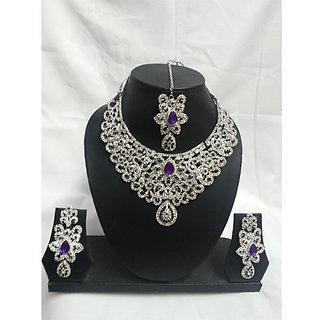 Artificial Diamond Studded  Necklace Purple