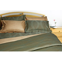 Just Linen Uber Rare Cotton Damask Self Design Olive Green King Duvet Cover