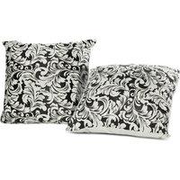 Just Linen Set Of 2 Brasso Velvet Black And White Cushion Covers