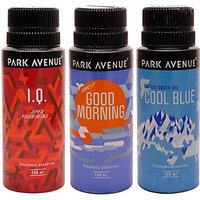 Pack Of 3 PCs Park Avenue Deo Cool Blue, Good Morning, IQ Deo