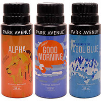 Park Avenue Alpha, Cool Blue, Good Morning Pack Of 3 Deodorants Combo Set