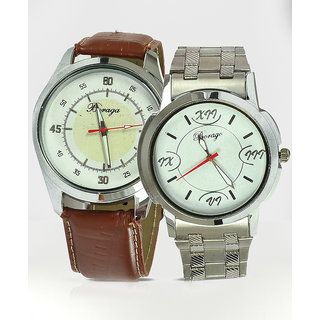 Stylish Leather Strap Watch &  Stainless Steel Watch Combo Offer
