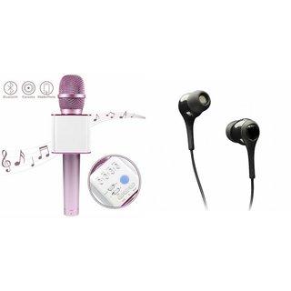 Mirza Q7 Portable Wireless Karaoke Microphone Handheld Condenser Microphone Inbuilt Speaker Microphone and Headset (C100 Headphones Devil Horn In-Ear Earphones Creative Earbuds With Mic )for LG G PRO 2