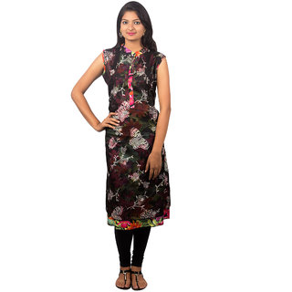 Designer neck printed chiffon hineck collar elegant look kurti dress top