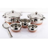 Mahavir 6pc Copper Bottom Cook N  Serve Set