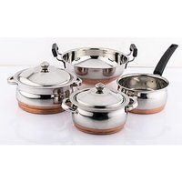 Mahavir 4pc Copper Bottom Cook N  Serve Set