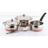 Mahavir 4Pc Copper Bottom Cookware Set