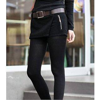 Hi Fashion : Black Color Double Zipper Woolen Short  Pant Size:M