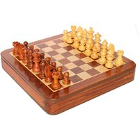 "Hand Made Wooden Magnetic Flat 10""x10"" Drawer Type Chess Set"