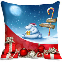 MeSleep Merry Christmas Gift Digitally Printed Blue & Red Cushion Cover