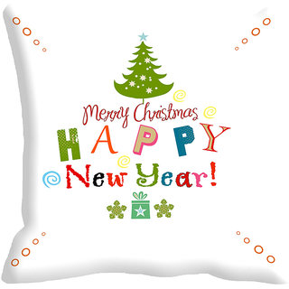 meSleep Merry Christmas & Happy New Year Digitally Printed White Cushion Cover
