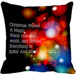 meSleep Merry Christmas Digitally Printed Multi-Coloured Cushion Cover