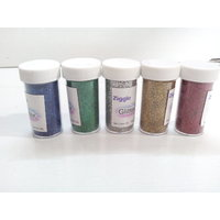20gm Each- 5 Color Glitter Powder By Ziggle
