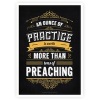 An Ounce Of Practice Is Worth Mahatma Gandhi Inspirational Quotes Poster