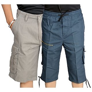 True Fashion Multi-Coloured Cargo Shorts (Combo of 2)-SACCARBBB222