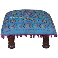 EMBROIDERED SMALL STOOL/CHAUKI IN SHEESHAM WOOD