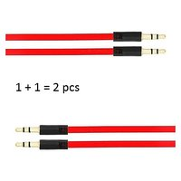 Set Of 2 Car Stereo AUX Cable 35mm Male To Male