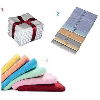 iLiv White / Colored / Ladies handkerchief - 12 Pc