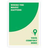 Where The Magic Happens Your Comfort Zone Corporate Inspirational Quotes Poster