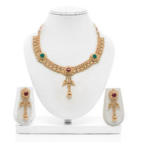 Senorita Traditional Necklace Set PS0007 With Antique Finish And Multi Stones