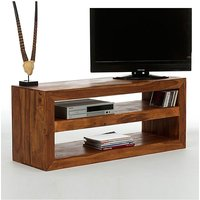 WoodPecker Light Honey Sheesham Wood Open Plain Design TV Unit
